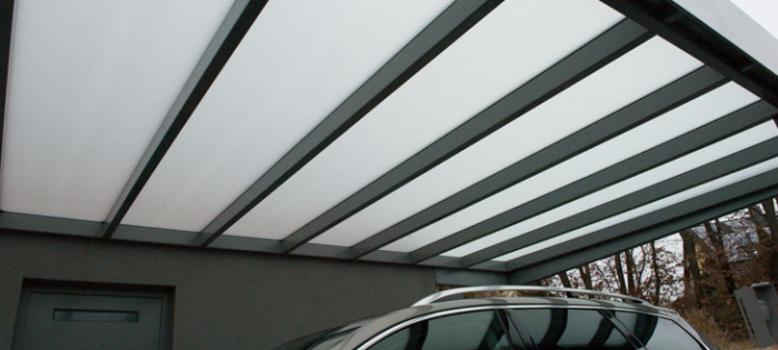 EFH - Carport Überdachung mit mattem Glas